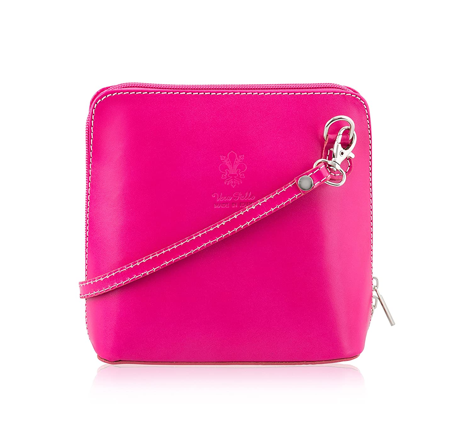 100% Italian Leather Handmade Small/Mini Cross Body/Shoulder HandBag/Clubbing Bag- Design 2018 in Pink - Made in Italy Mayfair Cashmere
