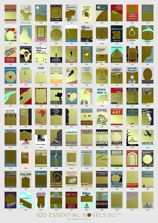 Solartusa Póster De 100 Libros Lista De Recortes 7 1 X 9 4 In Sin Marco Para Decoración De La Pared Y El Salón Dormitorio Para Los Amantes De Los Libros Para