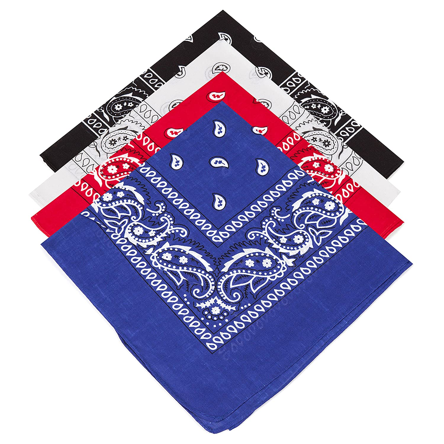 4 Paisley Bandanas Red, Black, White, Royal Blue Including Gold/Teal/Black Temporary Tattoos !