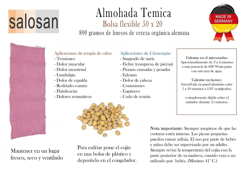 Almohada Termica 50x20 cm - Hecho en Alemania - Relleno: 800 Gramos de Huesos de Cereza. Forro: 100% Algodón - (Rojo S): Amazon.es: Salud y cuidado personal