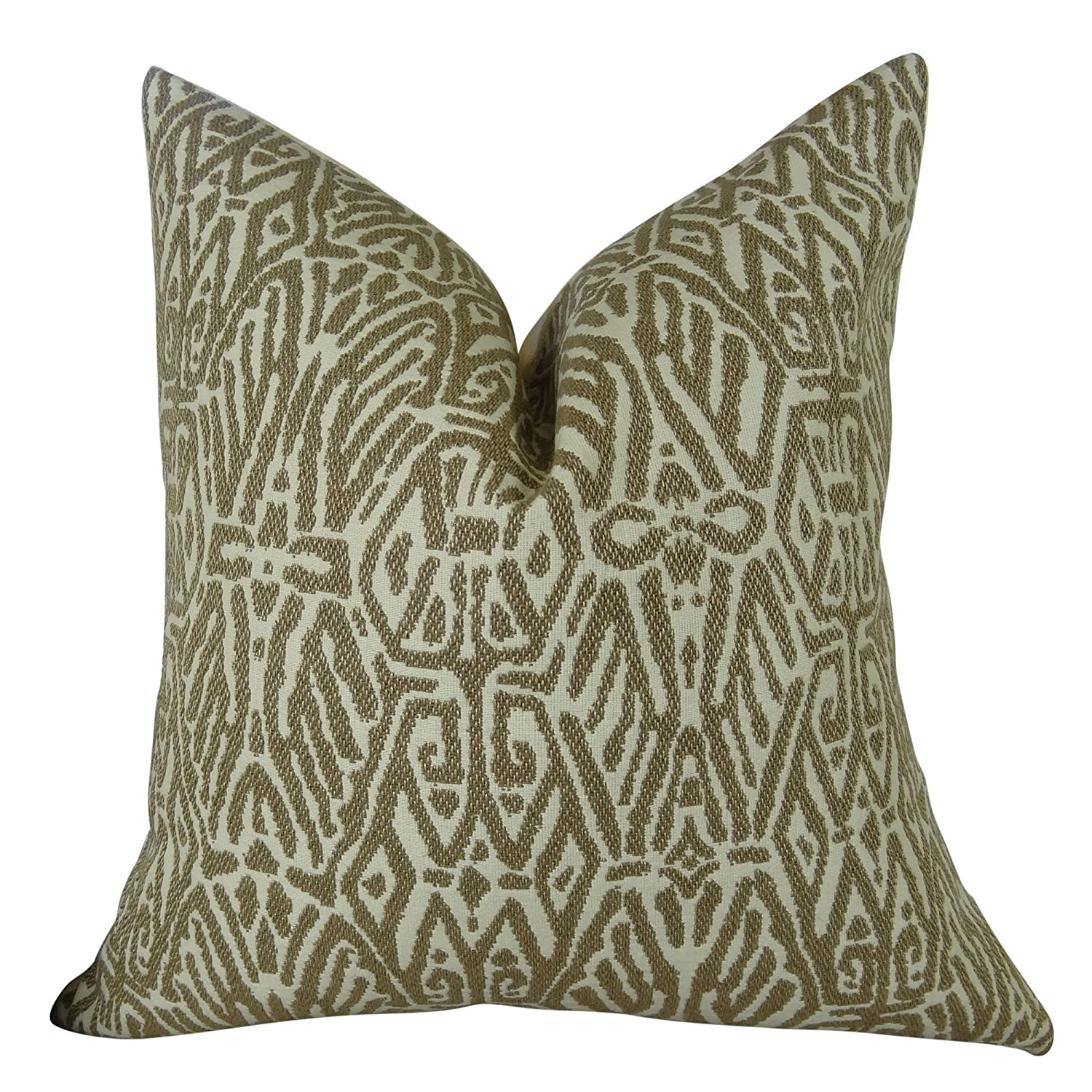 A .12  x 20  Thomas Collection Handmade in USA Luxury Decorative Pillow for Couch Sofa Bed, Made in USA Pillow Insert & Cover, Light Brown Cream Graphic Pillow  11162