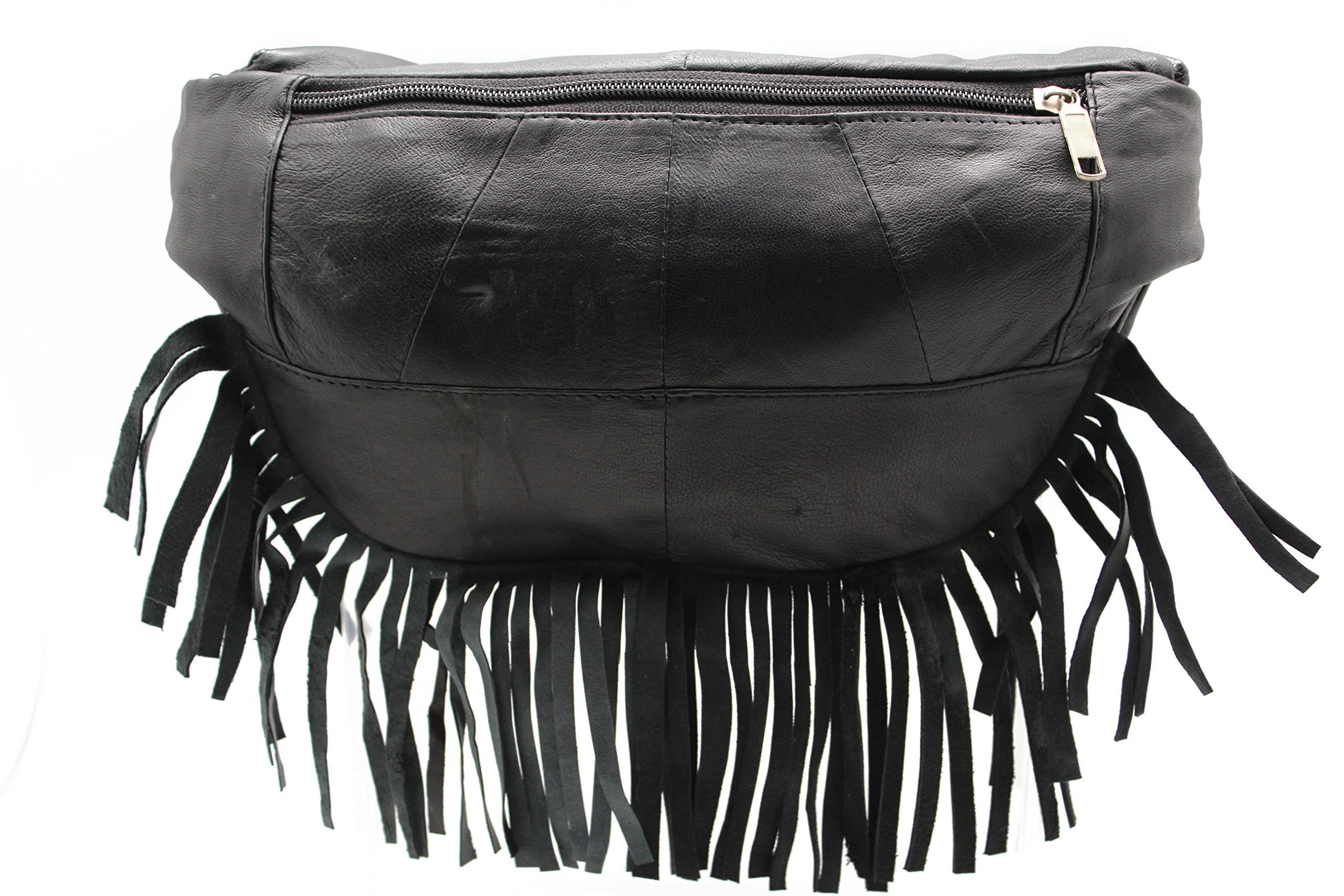 Genuine Leather Music Festival Fur Boho Red Indians Fringe Fanny Pack/Hip Pouch (JTC-51605) by Juzar Tapal Collection (Image #4)