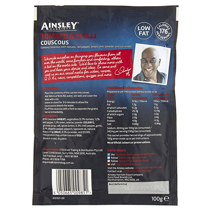 Ainsley Harriott Tomato & Chilli Couscous, 100 g, Pack of 12
