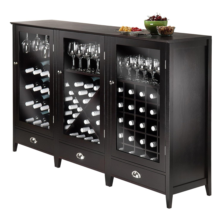 Amazon winsome wood 3 piece wine cabinet modular set kitchen amazon winsome wood 3 piece wine cabinet modular set kitchen dining eventshaper