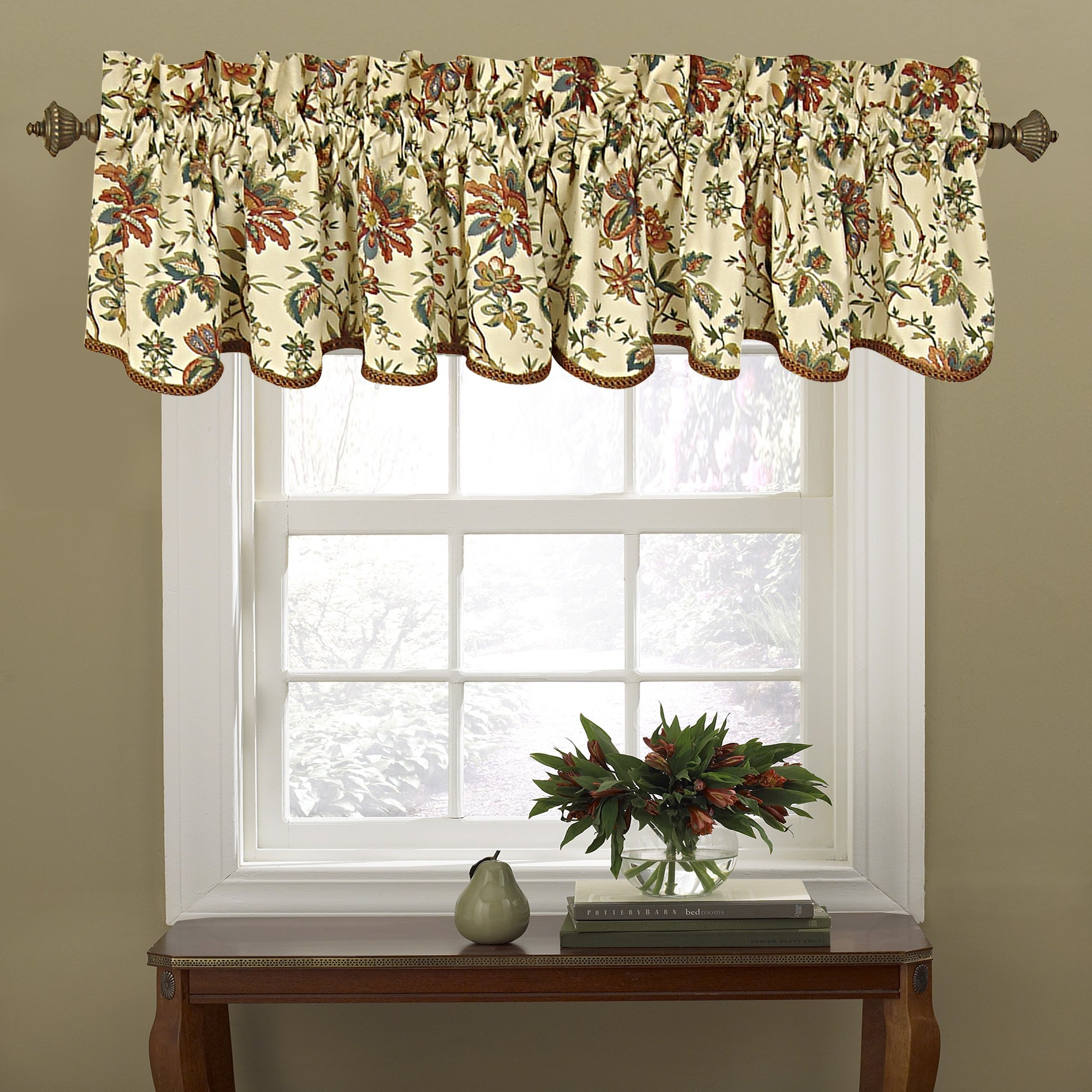 WAVERLY Valances for Windows - Felicite 50'' x 15'' Short Curtain Valance Small Window Curtains Bathroom, Living Room and Kitchens, Creme by WAVERLY
