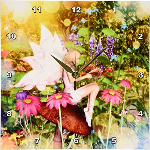 3dRose DPP_19392_1 Magical Fairy with Butterfly Friends Wall Clock, 10 by 10-Inch