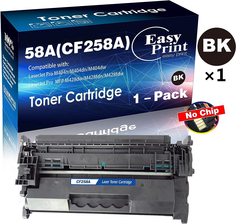 (1-Pack, DIY Chip, Black) Compatible CF258A 58A Toner Cartridge 58X Used for HP Laserjet Pro M404dn M404dw M404n MFP M428fdw M428fdn M428dw M304 Printer, Sold by EasyPrint