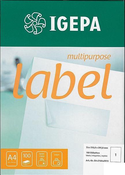 100 hojas de papel DIN A4 auto-adhesivos para impresora de ...