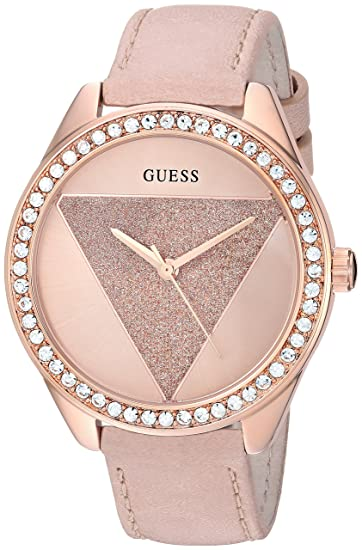 d0f5f085f GUESS Women's Stainless Steel Japanese-Quartz Watch with Leather Strap,  Color: Pink/Rose Gold-Tone, 19: ((Model: U0884L8): Amazon.ca: Watches