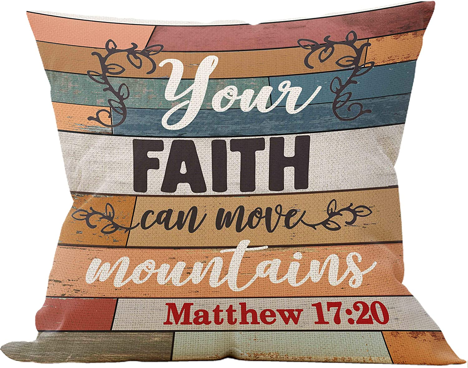 Your Faith Can Move Mountains Throw Pillow Case, Christian Decor, Christian Gift, Church Gifts, 18 x 18 Inch Scripture Art Decorative Linen Cushion Cover for Sofa Couch Bed, Matthew 17:20
