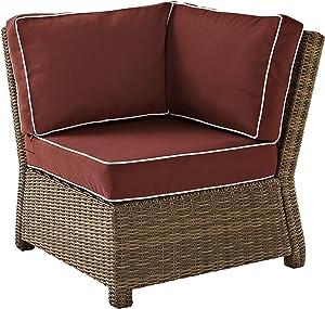 Crosley Furniture KO70018WB-SG Bradenton Outdoor Wicker Sectional Corner Chair, Brown with Sangria Cushions
