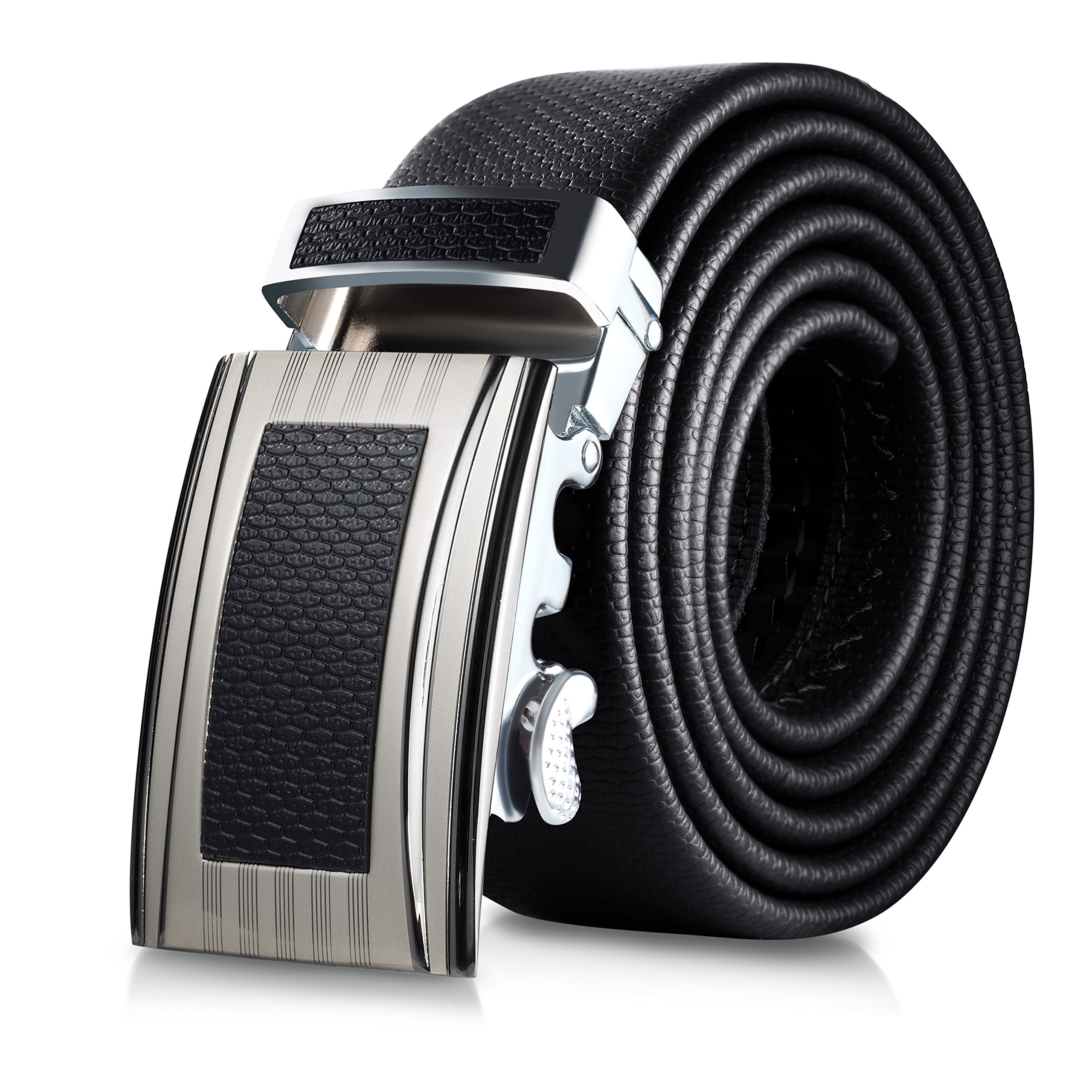 Mio Marino Classic Ratchet Belt - Premium Leather - 1.38 Wide - Adjustable Buckle - Free Gift Box - Indented Border Ratchet Belt - Black - Adjustable from 38'' to 54'' Waist