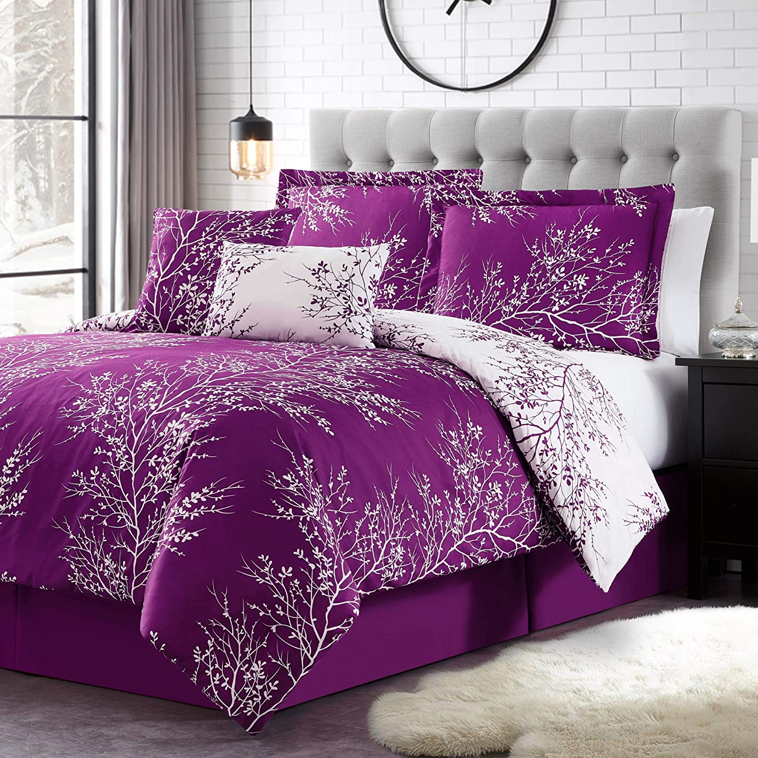 Spirit Linen 6pc Warm and Cozy Comforter Set Platinum Bedding Collection Baby Soft Texture Plush Bed Blanket (Purple, King)