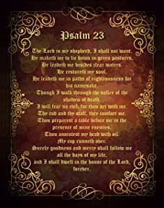 """Psalm 23 Wall Art, 11""""x14"""" Un framed Print - Olde English Style Biblical Art Wall Décor for Home, Ideal for Spiritual or Religious People"""