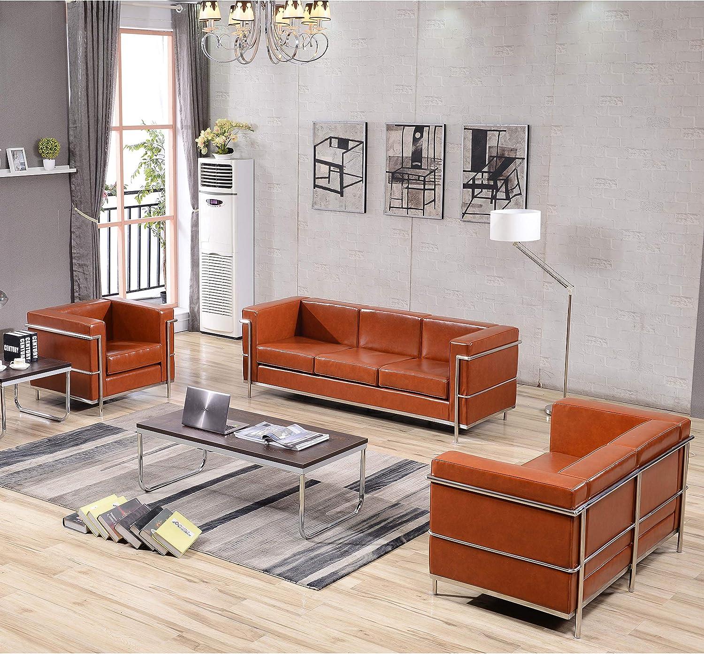 Flash Furniture Cognac Leather Reception Set