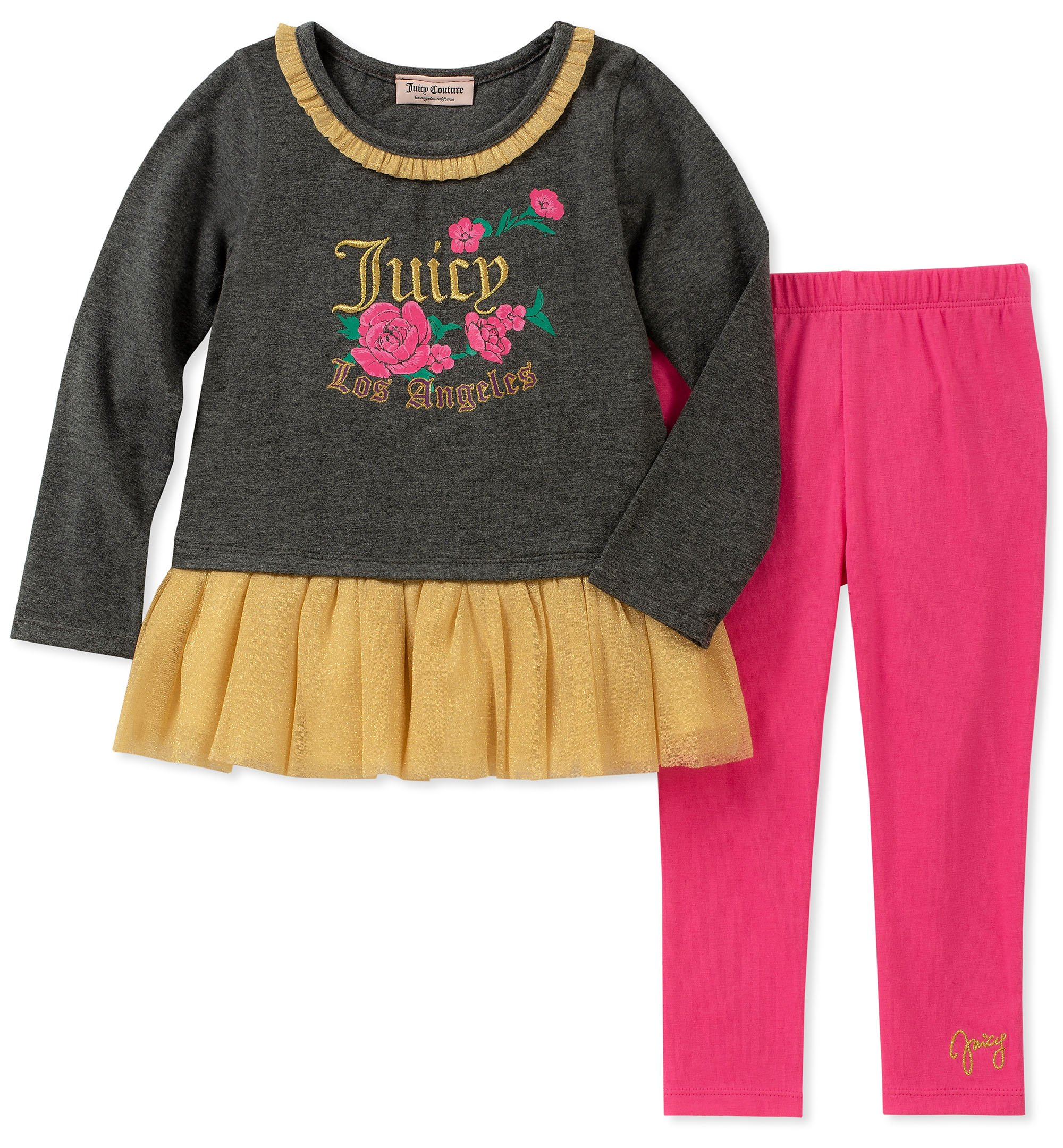 Juicy Couture Girls' Big 2 Pieces Tunic Legging Set, Gray/Gold/Pink, 12