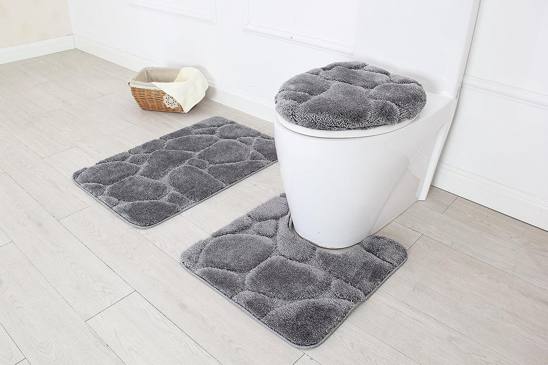 "3 Piece Ultra Plush River Rock Design Bath Rug set. 19.5""x""30.5, Contour 20""x""20. Made With 100% Polyester (Gray)"