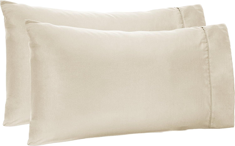 AmazonBasics Light-Weight Microfiber Pillowcases - 2-Pack, Standard, Beige