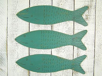 Amazon Com Wooden Fish Art Fish Wall Art Wood Fish Decor Nautical