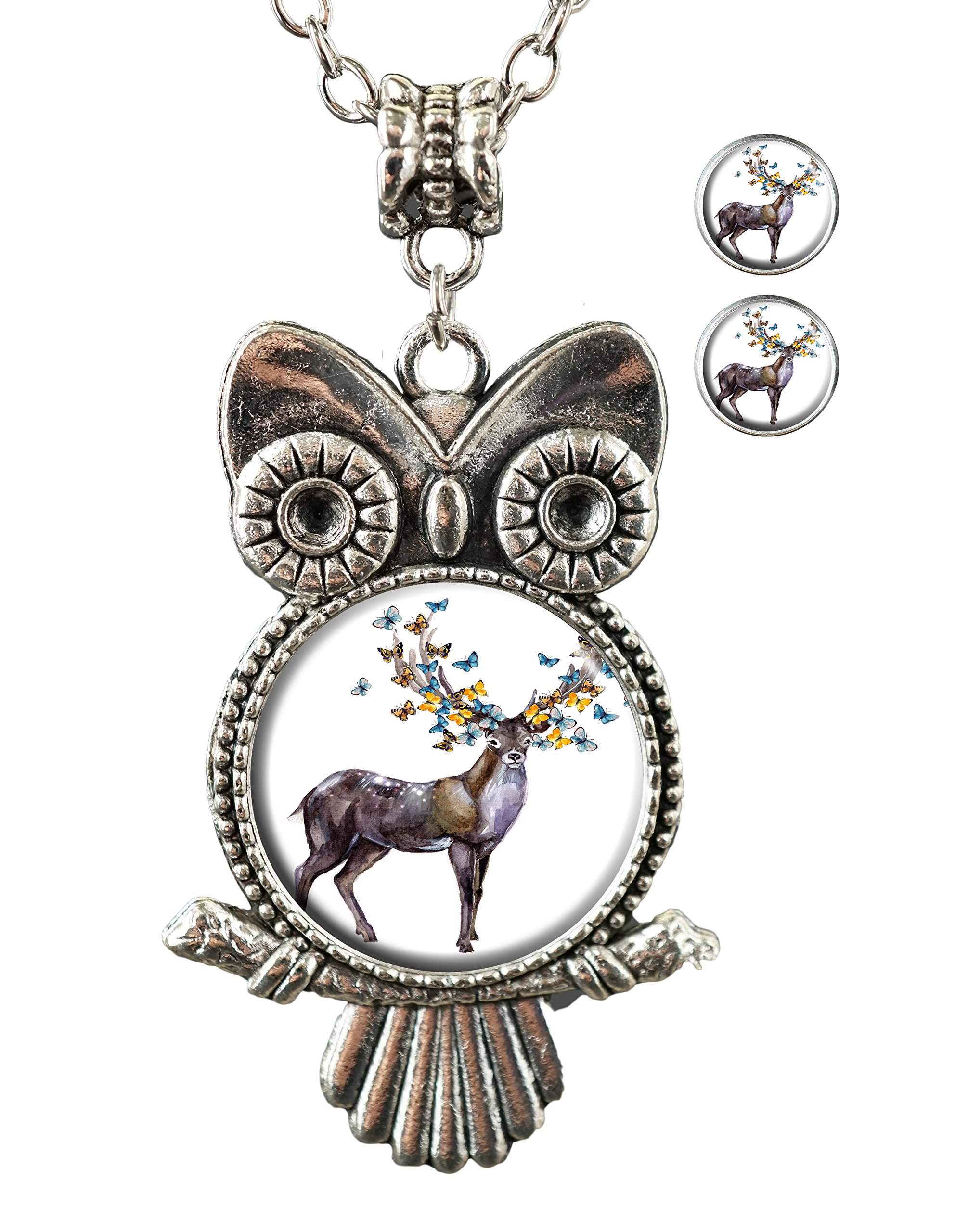 KingCow Stag with butterfly Custom Owl Pendant Necklace Stud Earrings Jewelry Set