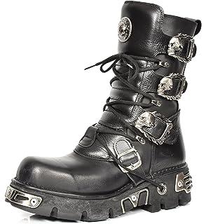 ef096c57100 New Rock Mens Biker Style Boots Black Lace up Leather Skull Buckle Design  Platform Shoes