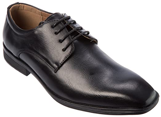 Mens Lace-Up Derby Plain Toe PU Leather Dress Shoes For Wedding Party Office Work Church Or Other Formal Event