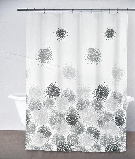 DKNY Brushstroke Floral Gray Shower Curtain