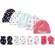Gerber Baby Girls' 9-Piece Cap and Mitten Bundle, Pink Princess, Newborn