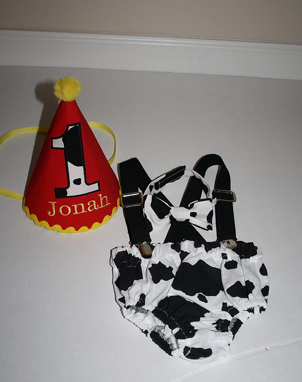 Amazon Cow Farmer Smash Cake Outfit Personalized Hat Bow Tie Diaper Cover Suspenders Boy Handmade