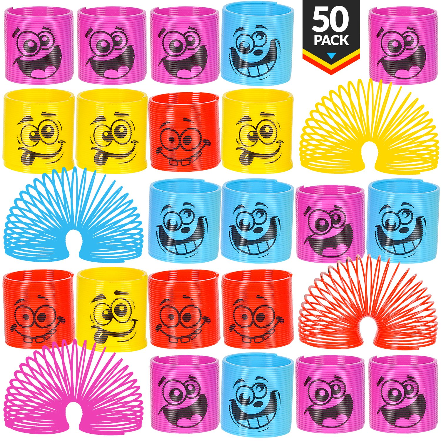 Mega Pack Of 50 Coil Springs - Assorted Emoji Silly Faces And Colors, Mini Spring Toy For Party Favor, Carnival Prize, Gift Bag Filler