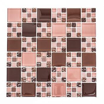 Piastrelle Mosaico Tessere Di Mosaico In Vetro Rosso Bordeaux Piazza