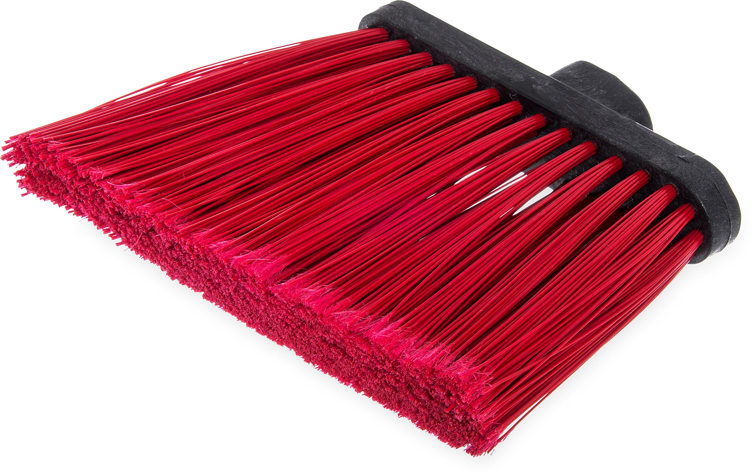 Carlisle 3686705 Duo-Sweep Medium Duty Flagged Angle Broom Head, Polypropylene Bristle, 8'' Overall Length x 12'' Width, Red (Case of 12)