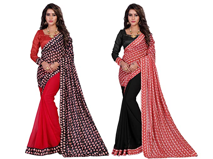 Amazon.com: mirchi Fashion Navidad sintética sari georgette ...