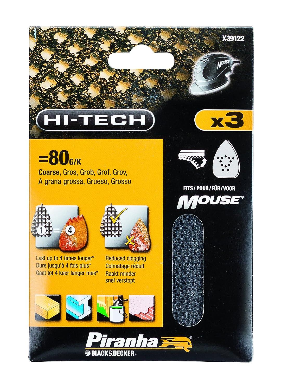 Set of 3 80 g Mesh Sheet Mouse Sander Velcro Piranha 120 g Mesh Sheet Mouse Sander Velcro