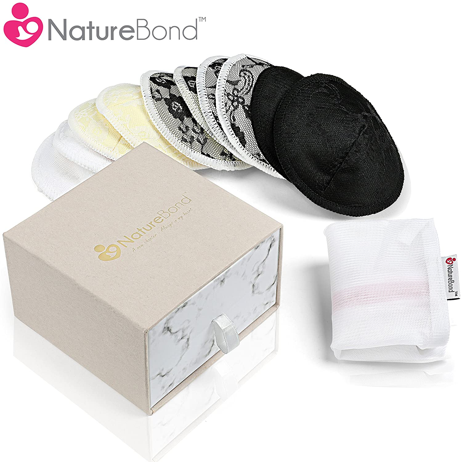 NatureBond Washable Organic Bamboo Nursing Pads (10 Pack) | Contoured Reusable Breast/Breastfeeding Lace Pads | Beautiful Absorbent Hypoallergenic | Bonus Large Laundry Bag | Perfect Baby Shower Gift NB005