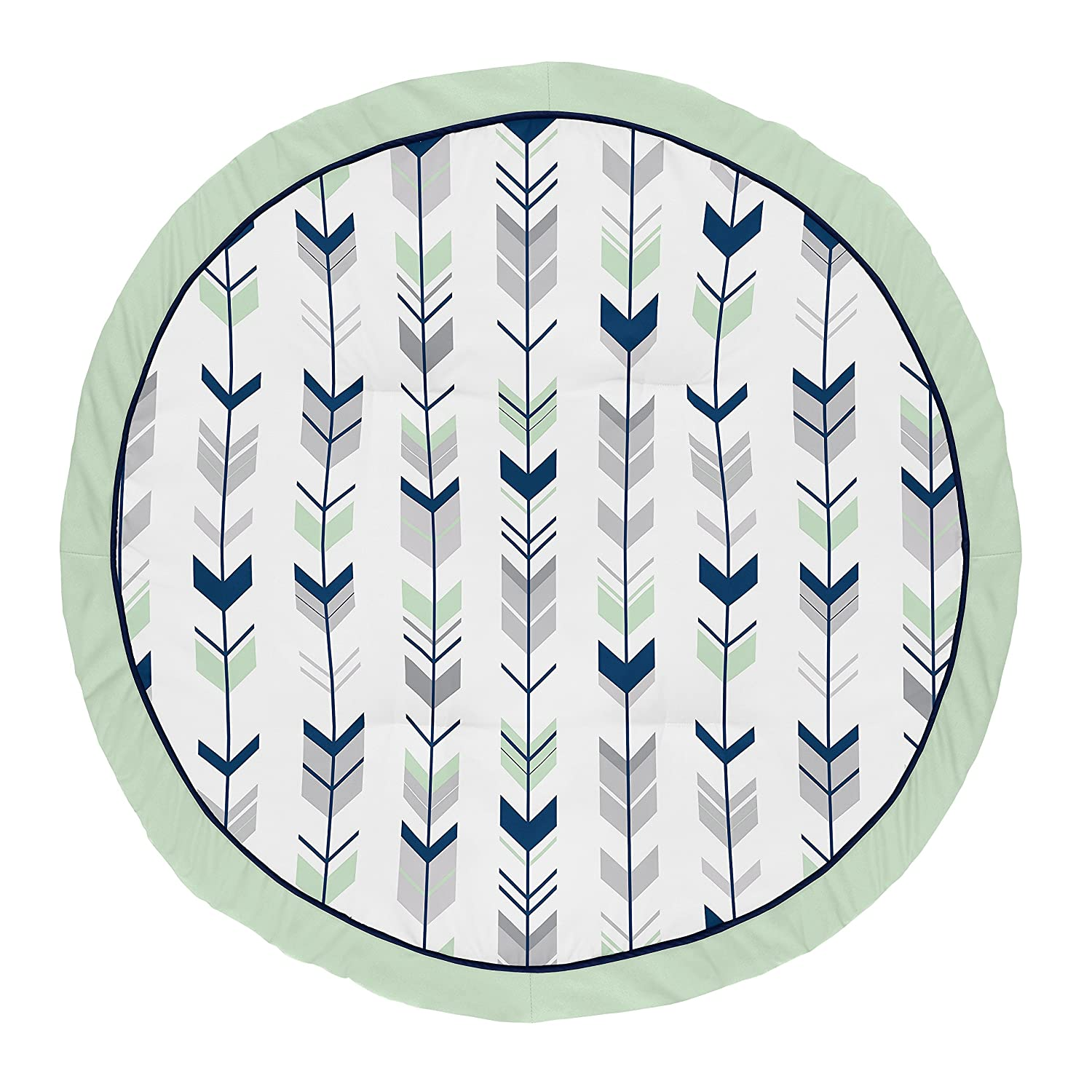 Sweet Jojo Designs Navy Blue, Mint and Grey Woodland Arrow Playmat Tummy Time Baby and Infant Play Mat for Woodsy Collection