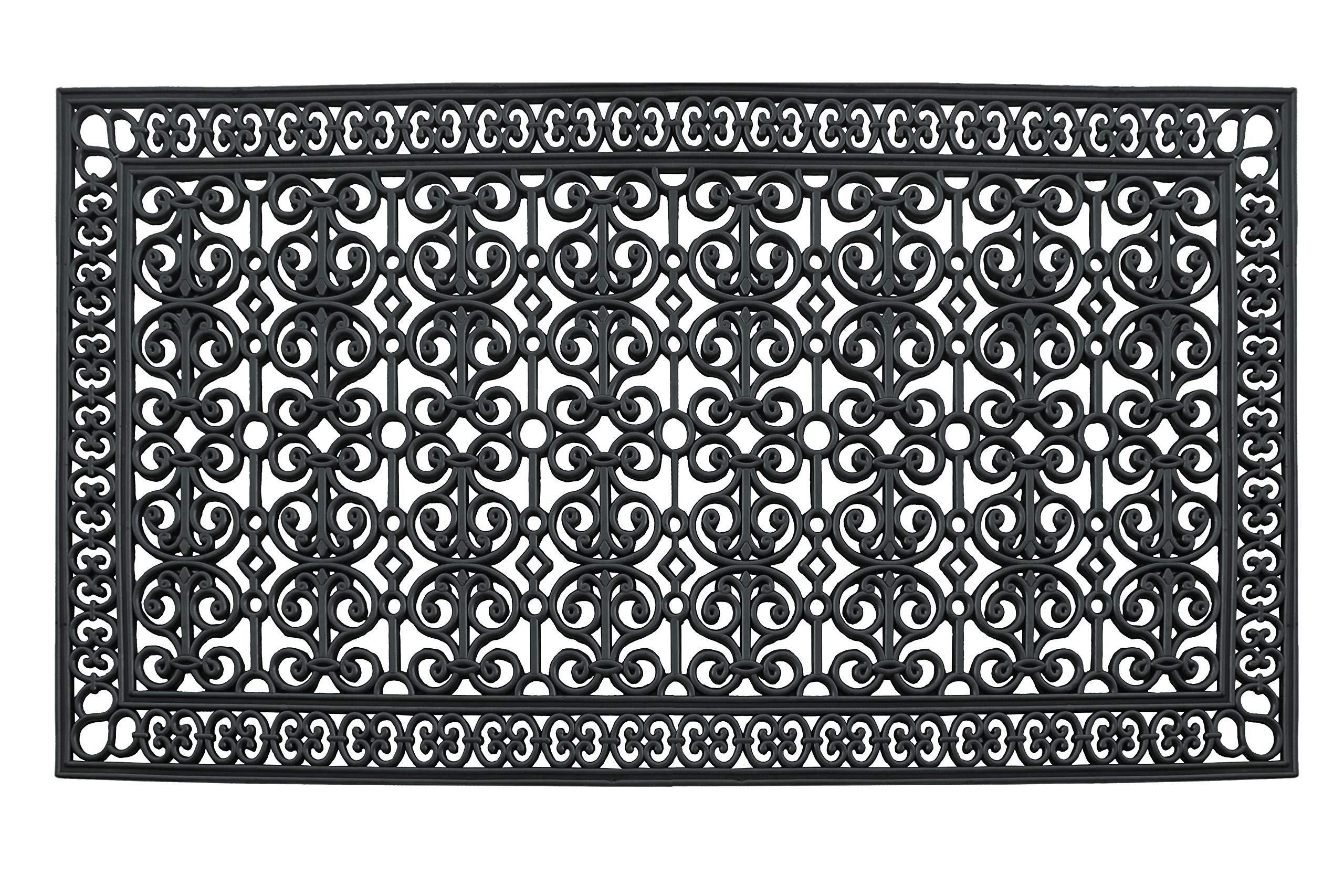 A1 Home Collections A1HCCL68 Doormat A1HC First Impression Rubber Paisley, Beautifully Hand Finished,Thick, 36X72, Black Estate 36'' X 72'' by A1 Home Collections (Image #1)