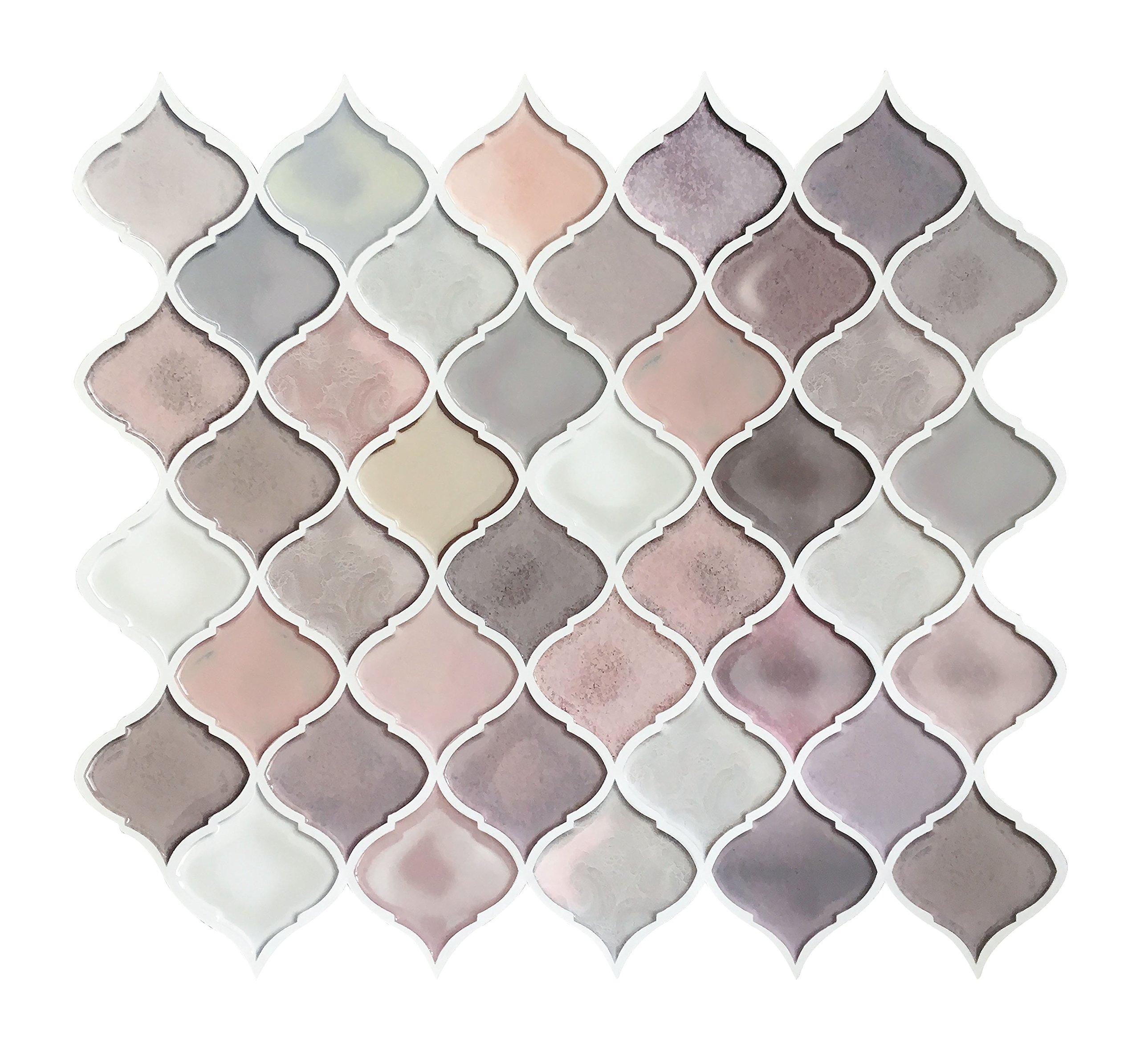 Peel and Stick Tile Backsplash for Kitchen Bathroom,Pink Arabesque ...
