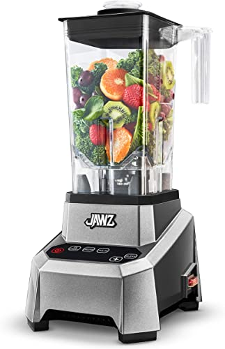 JAWZ High Performance Blender - Precision Touch Variable Speed - Professional Grade Countertop Blender Food Processor, 64 Oz, Silver