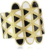 Kenneth Jay Lane Satin Gold with Black and White Enamel Cuff Bracelet