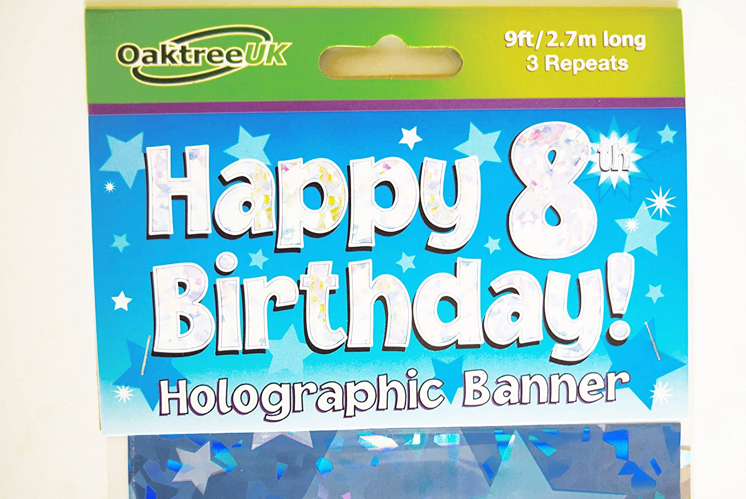 Happy 8th Birthday Banner Age Boy Blue Holographic Wall Kids Party Decorations