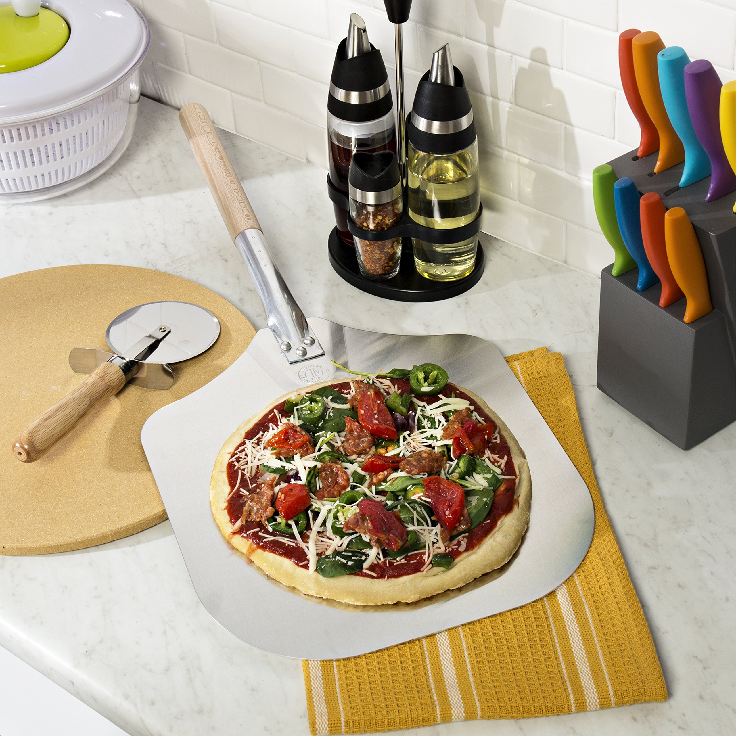 Kitchen Supply 14-Inch x 16-Inch Aluminum Pizza Peel with Wood Handle by Honey-Can-Do (Image #6)
