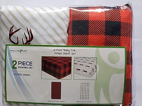 Amazon Com Walkerrun 2 Pack Baby Crib Sheets Lumberjack Red Red Black Buffalo Check Deer Home Kitchen