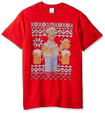the simpsons mens homer beer ugly christmas t shirt red small - Ugly Christmas Tee Shirts