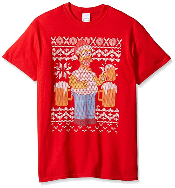 The Simpsons Mens Simpsons Homer Beer Ugly Christmas T Shirt T Shirt