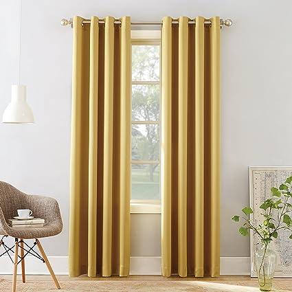 Sun Zero Barrow Energy Efficient Grommet Curtain Panel, 54 x 95, Flax Yellow