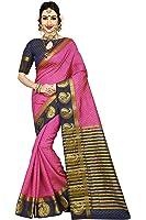 Vatsla Enterprise Women's Traditional Art Silk Kanjivaram Style Bridal Pink and Neavy Blue Saree With Banarasi Plain Unstitched Blouse Piece (VATDSNNO1_Pink_Neavy Blue_Colour)