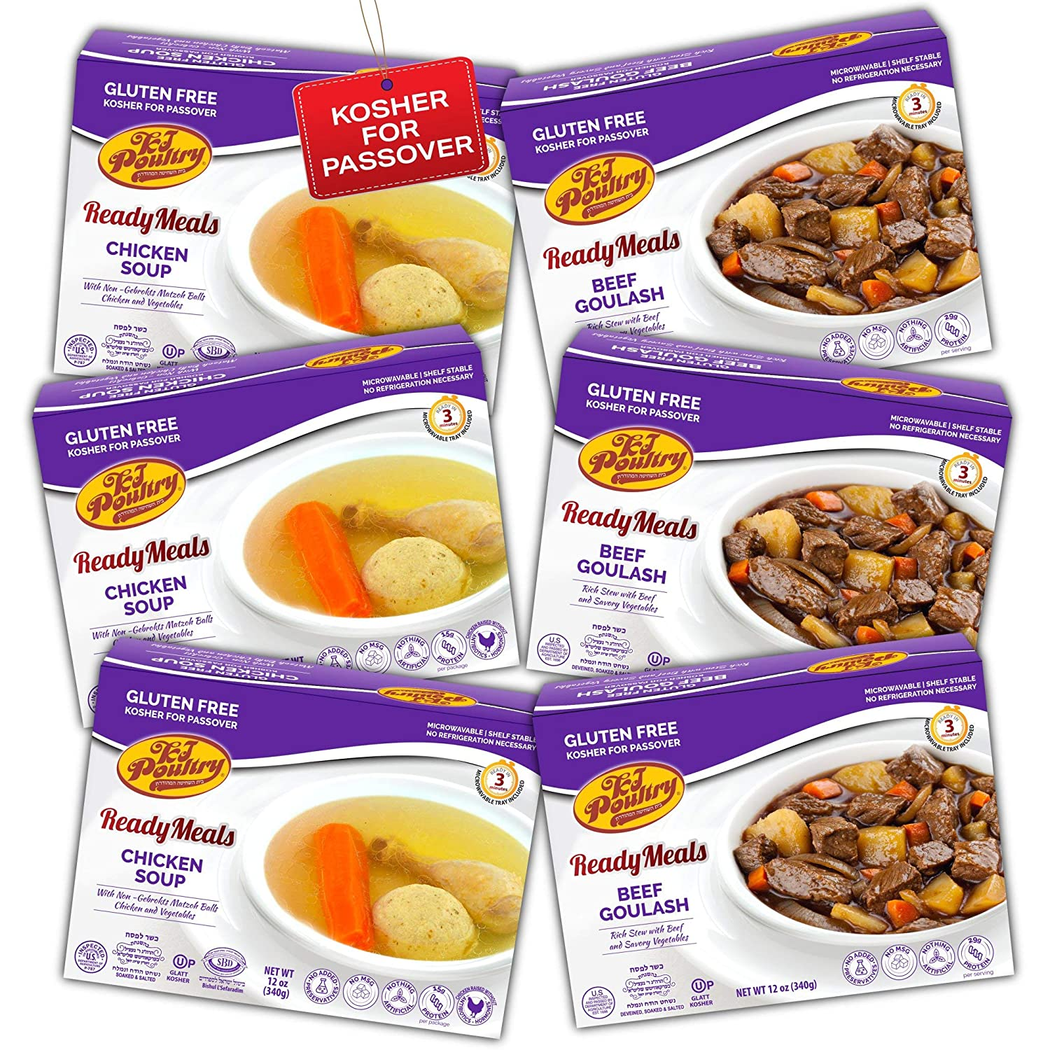 Kosher For Passover Food Matzo Ball Chicken Soup + Beef Goulash - MRE Meat Meals Ready to Eat - Gluten Free (6 Pack - Variety) - Prepared Entree Fully Cooked, Shelf Stable Microwave Dinner