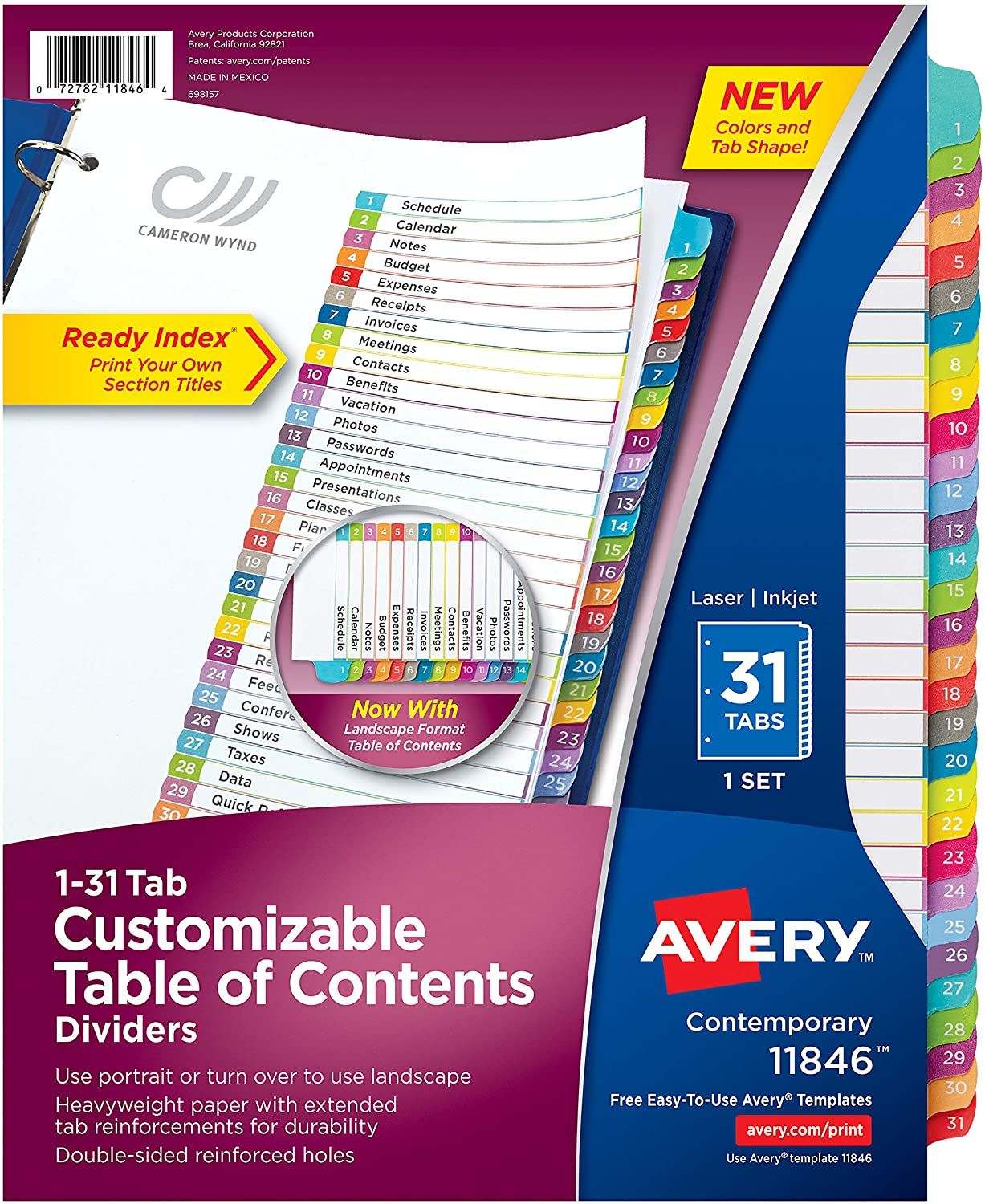 AVERY 1-31 Tab Dividers for 3 Ring Binders, Customizable Table of Contents, Multicolor Tabs, 1 Set, 12 Packs (11846)