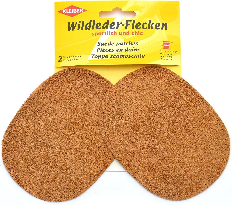 gris Kleiber Wildleder-flicken paloma ovalada 2 piezas